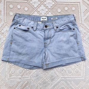 Madewell Pinstrip Jean Shorts Light Wash Fringe